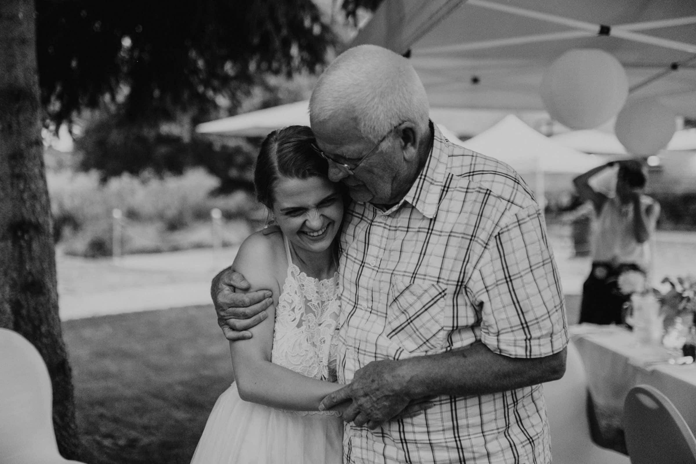 grandpa, grandfather, grandchild, grandchildren, laughter, laughing, wedding guests